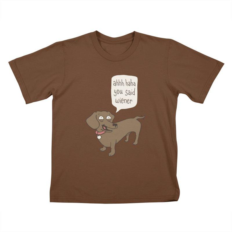 Immature Dachshund Kids T-Shirt by Phildesignart