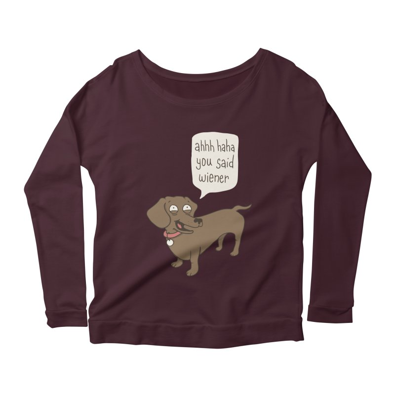 Immature Dachshund Women's Longsleeve Scoopneck  by Phildesignart