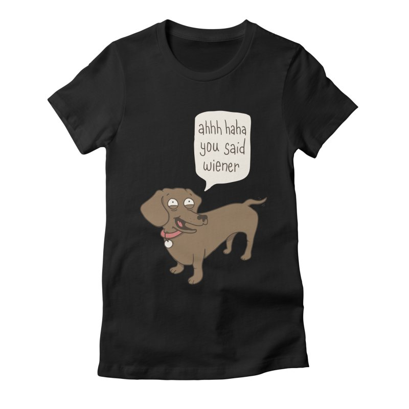 Immature Dachshund Women's Fitted T-Shirt by Phildesignart
