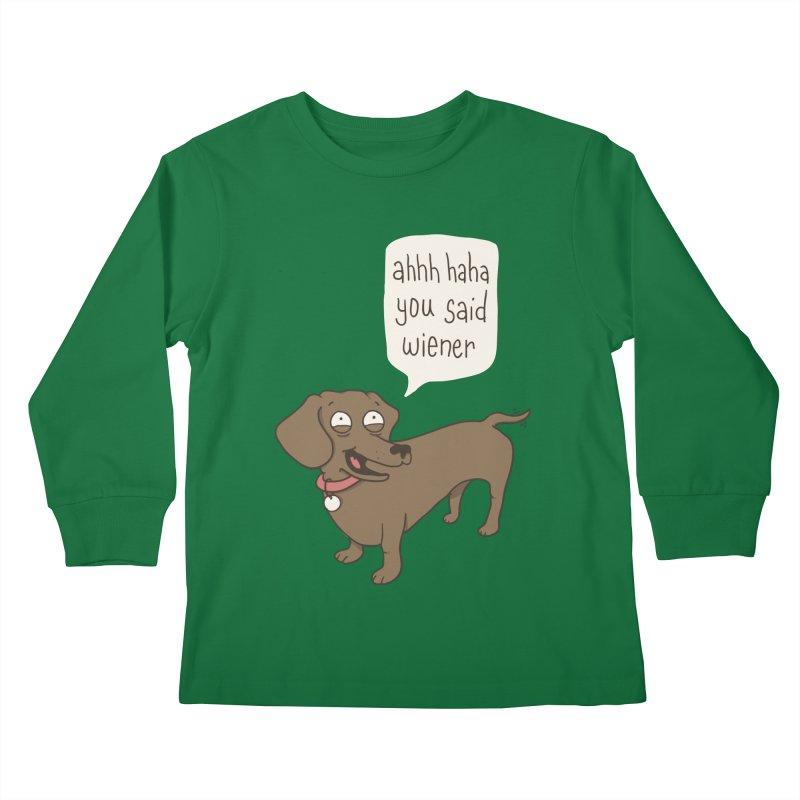 Immature Dachshund Kids Longsleeve T-Shirt by Phildesignart