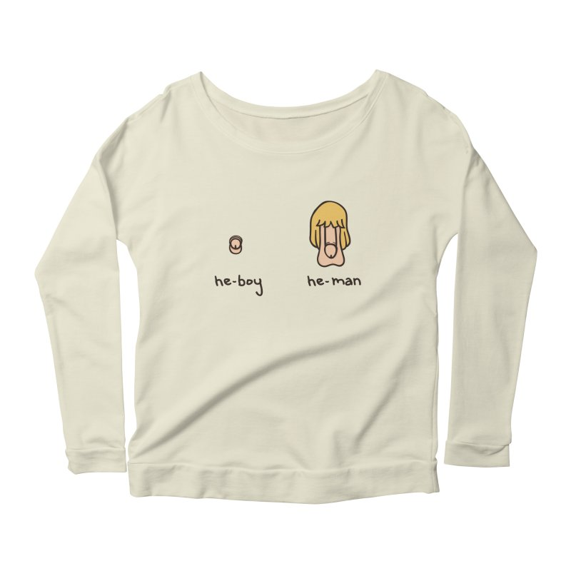 Becoming A He-Man Women's Longsleeve Scoopneck  by phildesignart's Artist Shop