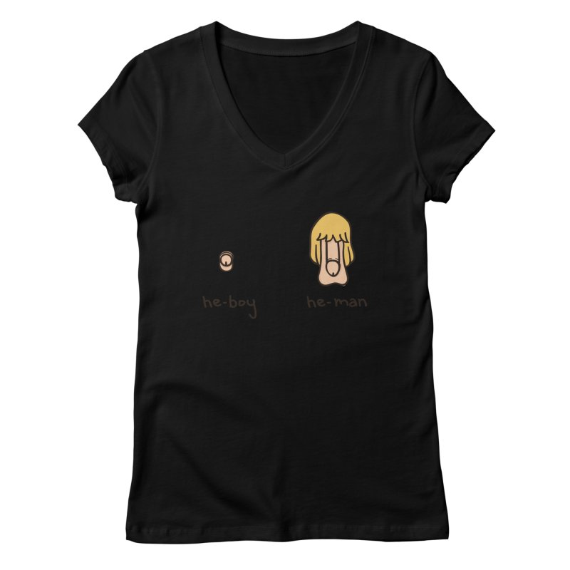 Becoming A He-Man Women's Regular V-Neck by Phildesignart