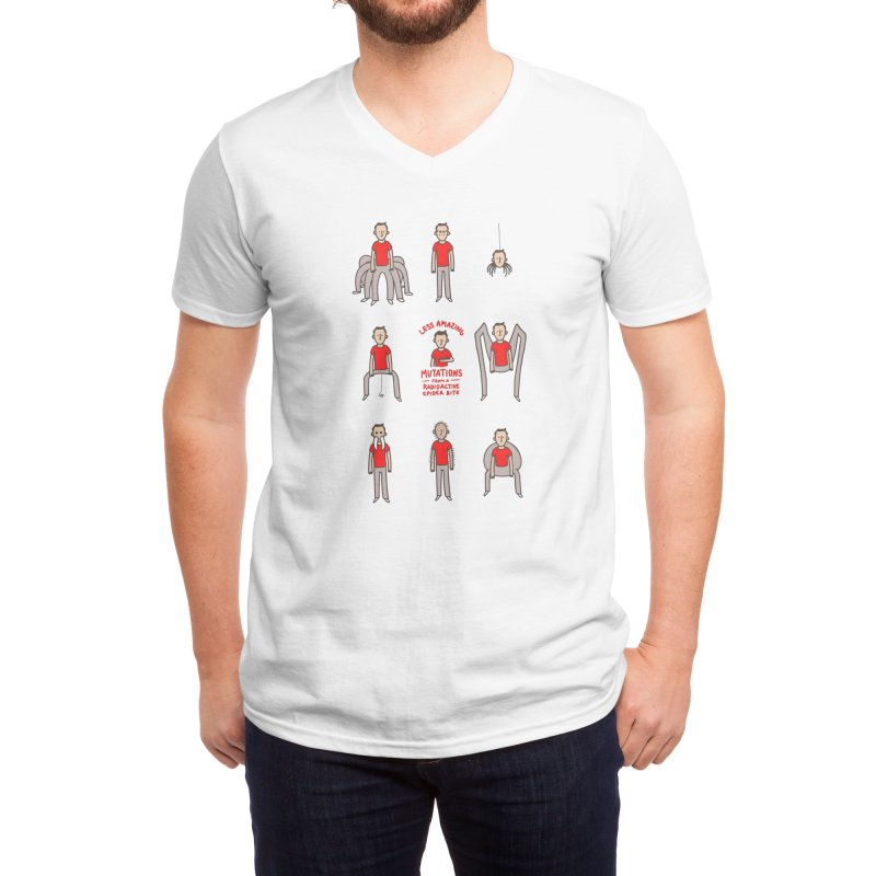 Less Amazing Mutations from a Radioactive Spider Bite Men's V-Neck by Phildesignart