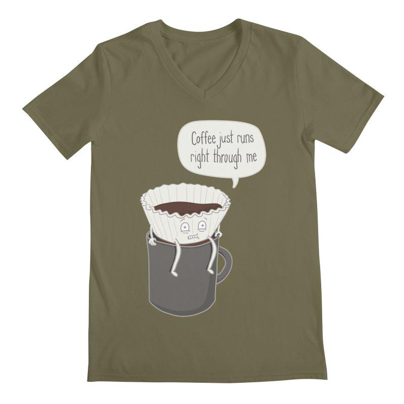 Coffee Runs Men's Regular V-Neck by Phildesignart
