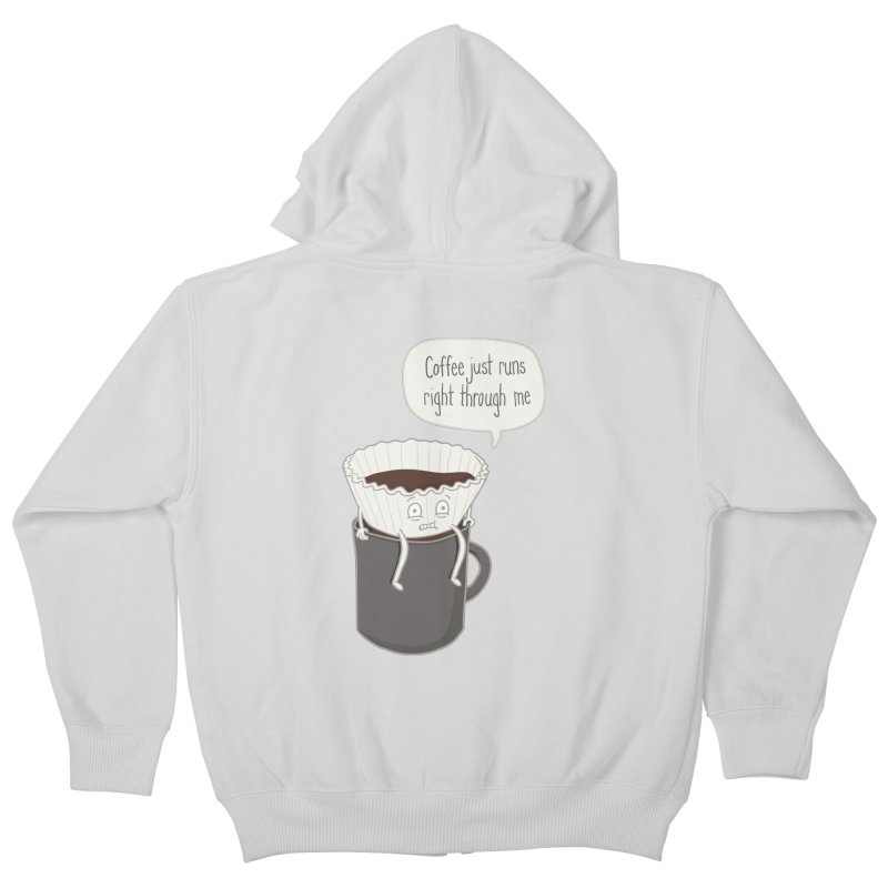 Coffee Runs Kids Zip-Up Hoody by Phildesignart
