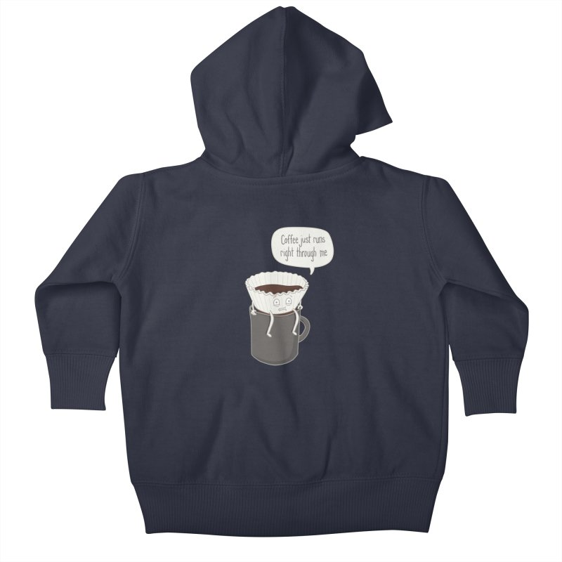 Coffee Runs Kids Baby Zip-Up Hoody by Phildesignart