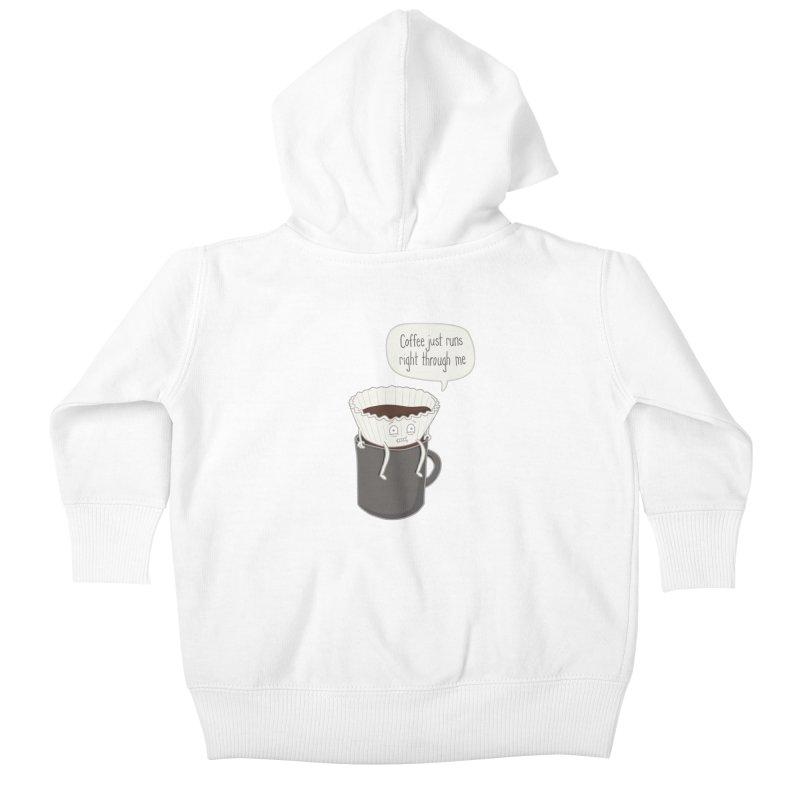 Coffee Runs Kids Baby Zip-Up Hoody by Phildesignart
