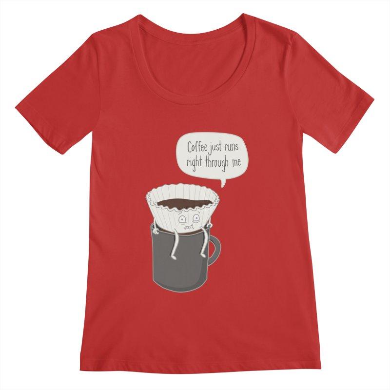 Coffee Runs Women's Regular Scoop Neck by Phildesignart