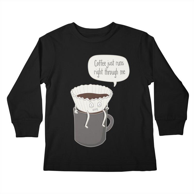 Coffee Runs Kids Longsleeve T-Shirt by Phildesignart