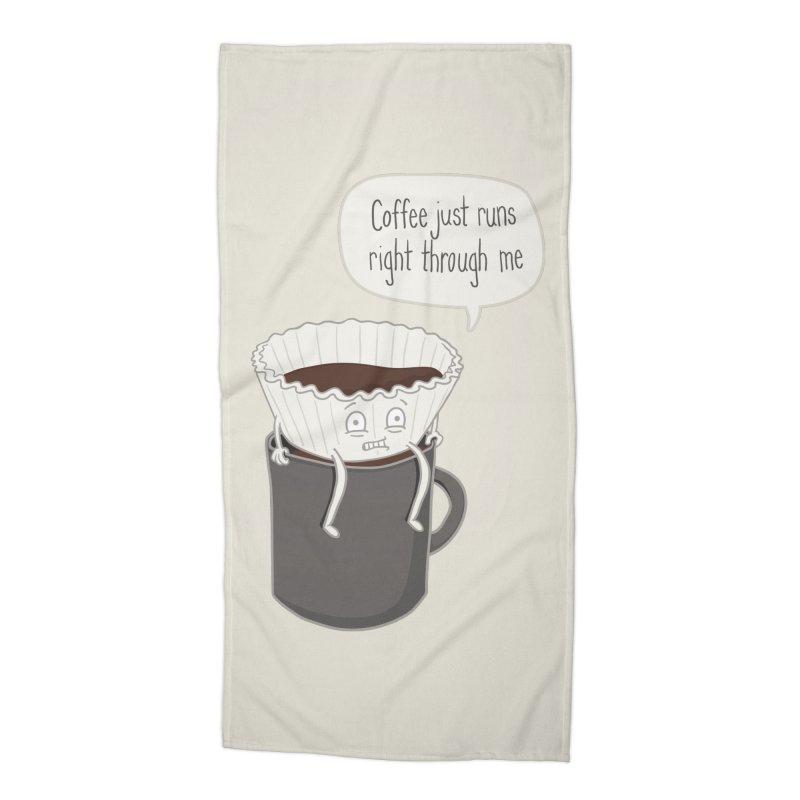 Coffee Runs Accessories Beach Towel by Phildesignart