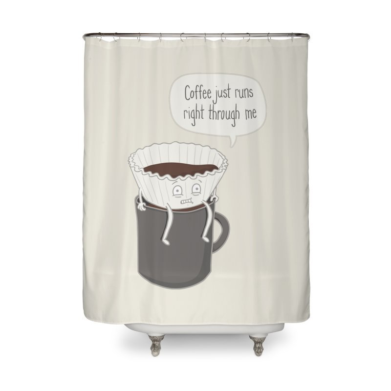 Coffee Runs Home Shower Curtain by Phildesignart