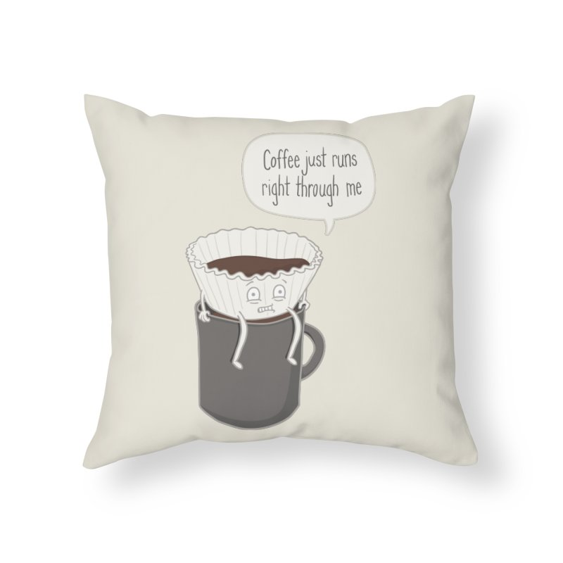 Coffee Runs Home Throw Pillow by Phildesignart