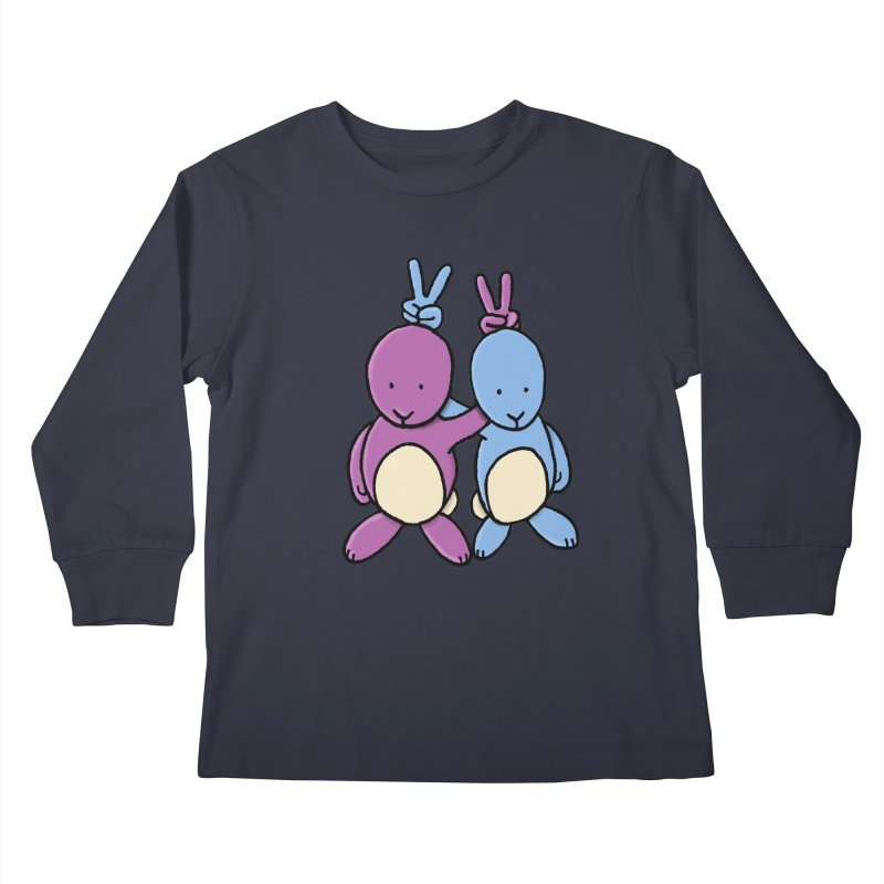 Bunny Ears Kids Longsleeve T-Shirt by Phildesignart
