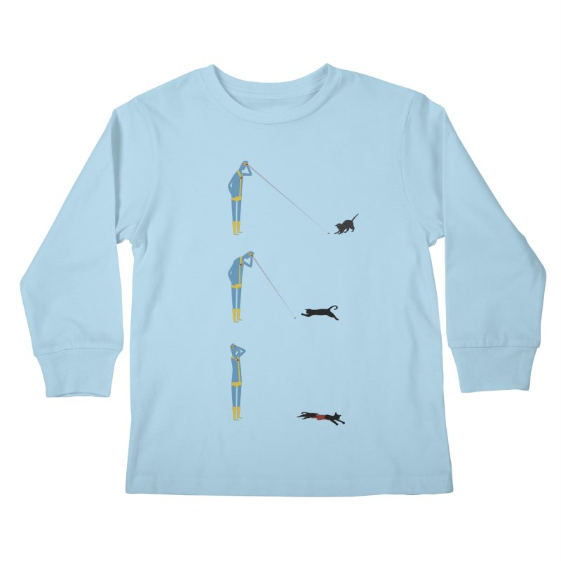 Cyclops' Cat Kids Longsleeve T-Shirt by Phildesignart
