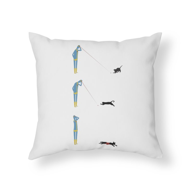 Cyclops' Cat Home Throw Pillow by Phildesignart