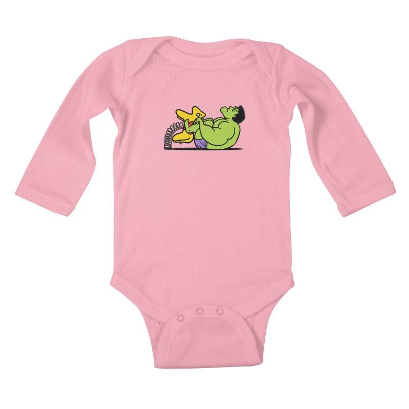 It's not easy being huge Kids Baby Longsleeve Bodysuit by phildesignart's Artist Shop