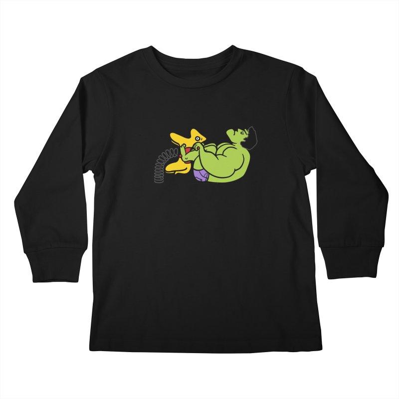It's not easy being huge Kids Longsleeve T-Shirt by Phildesignart