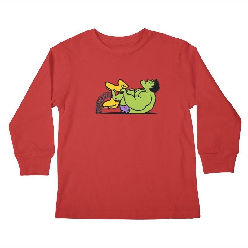 It's not easy being huge Kids Longsleeve T-Shirt by phildesignart's Artist Shop