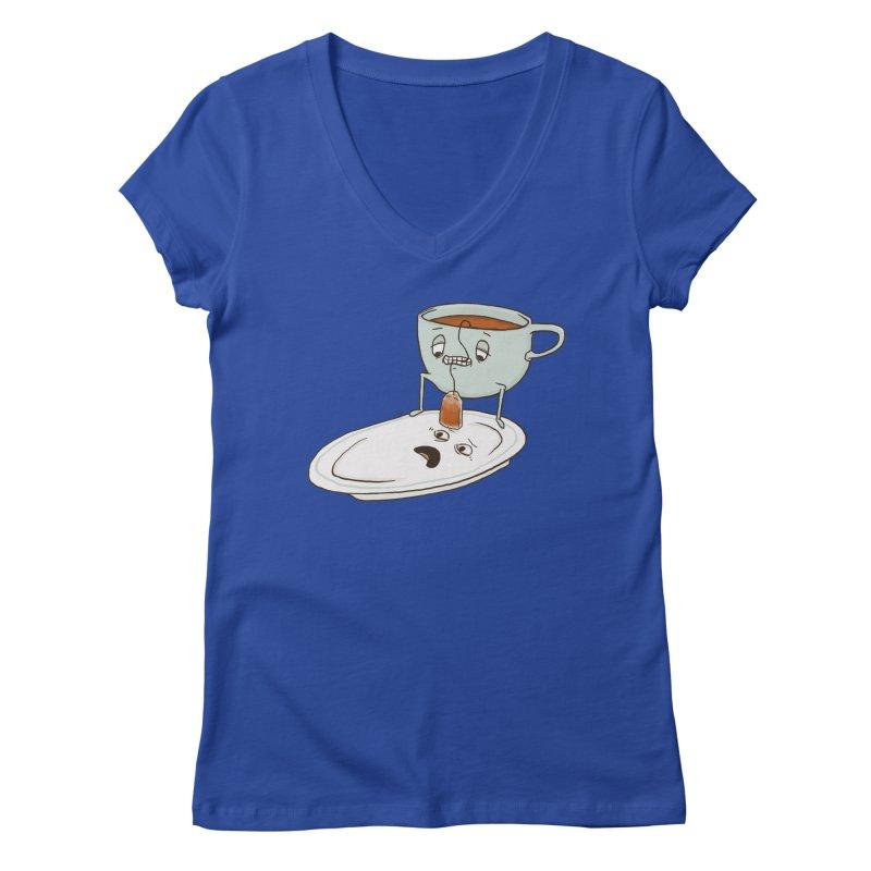 Tea Baggin' Women's Regular V-Neck by Phildesignart