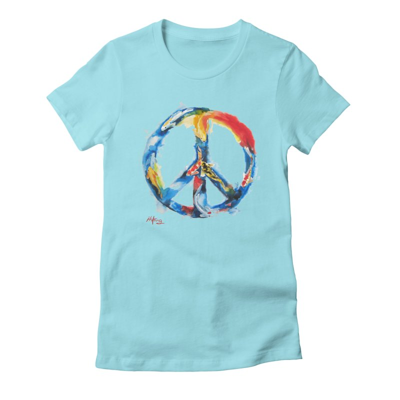 Peace Koi Women's Fitted T-Shirt by Phil Fung T-shirt Shop