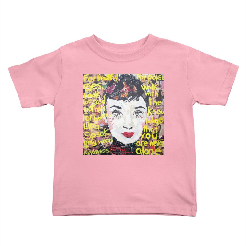 Pieces of Audrey Kids Toddler T-Shirt by Phil Fung T-shirt Shop