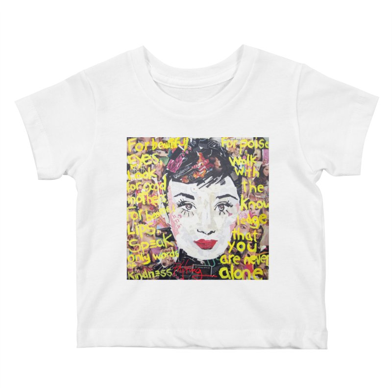 Pieces of Audrey Kids Baby T-Shirt by Phil Fung T-shirt Shop