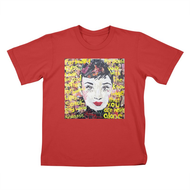 Pieces of Audrey Kids T-Shirt by Phil Fung T-shirt Shop
