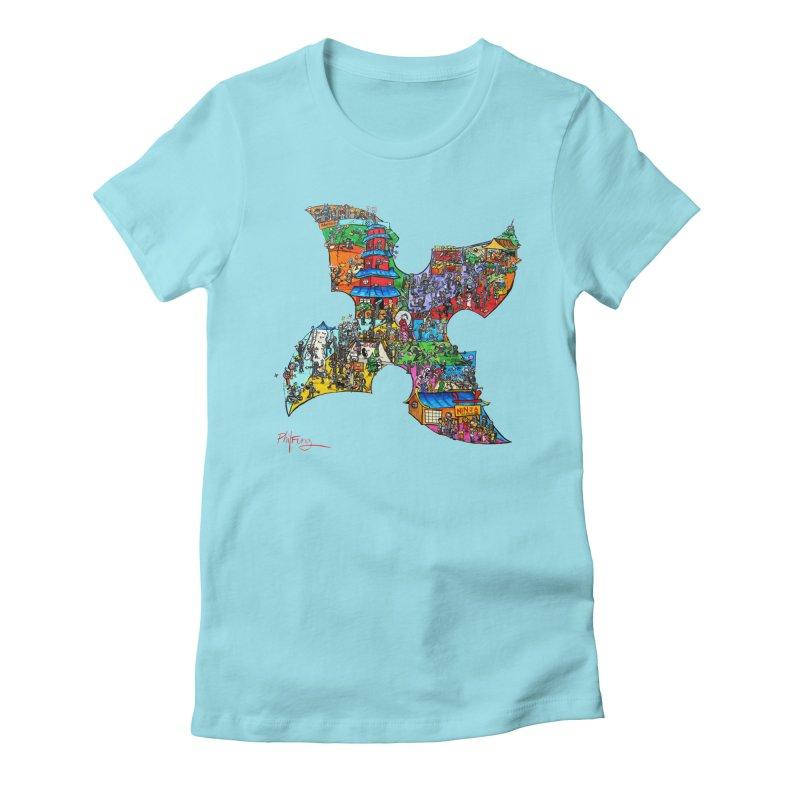 Ninja Pop Women's Fitted T-Shirt by Phil Fung T-shirt Shop