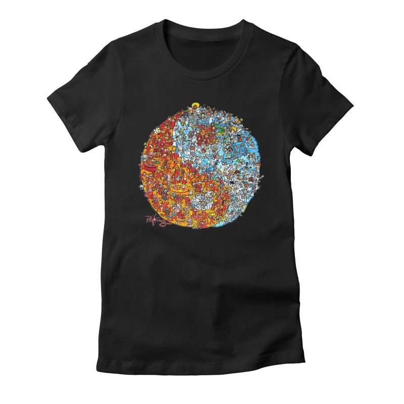 Yin Yang Women's Fitted T-Shirt by Phil Fung T-shirt Shop