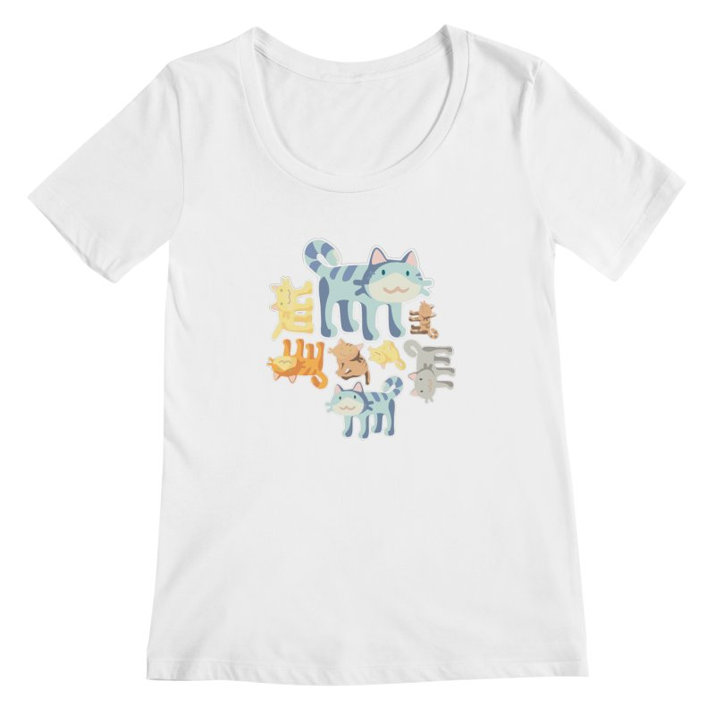 pastel_cats Women's Scoopneck by graphi