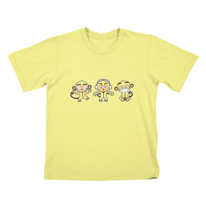 three_wise_monkeys Kids T-shirt by graphi