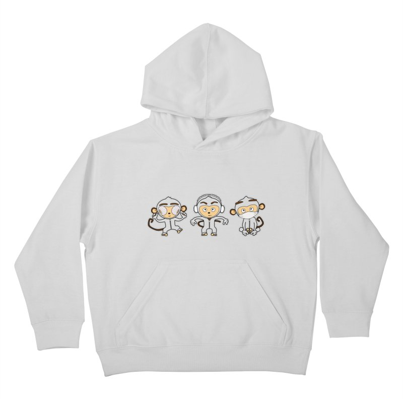three_wise_monkeys Kids Pullover Hoody by graphi