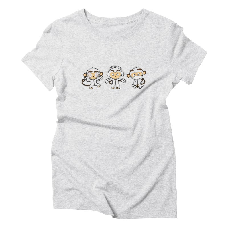 three_wise_monkeys Women's Triblend T-Shirt by graphi