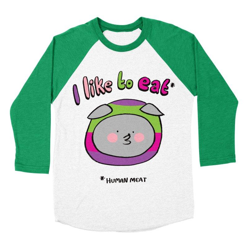 I Like To Eat  Women's Baseball Triblend Longsleeve T-Shirt by Philippa Rice's Shop
