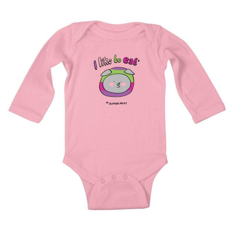 I Like To Eat  Kids Baby Longsleeve Bodysuit by Philippa Rice's Shop