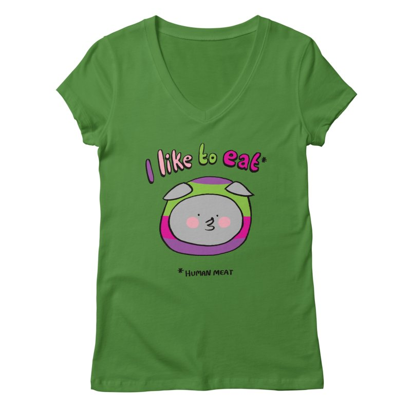 I Like To Eat  Women's Regular V-Neck by Philippa Rice's Shop