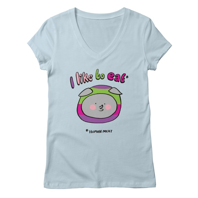I Like To Eat  Women's V-Neck by Philippa Rice's Shop