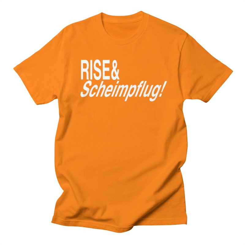 Rise & Scheimpflug! (white text) Men's T-Shirt by phillipolive's Artist Shop