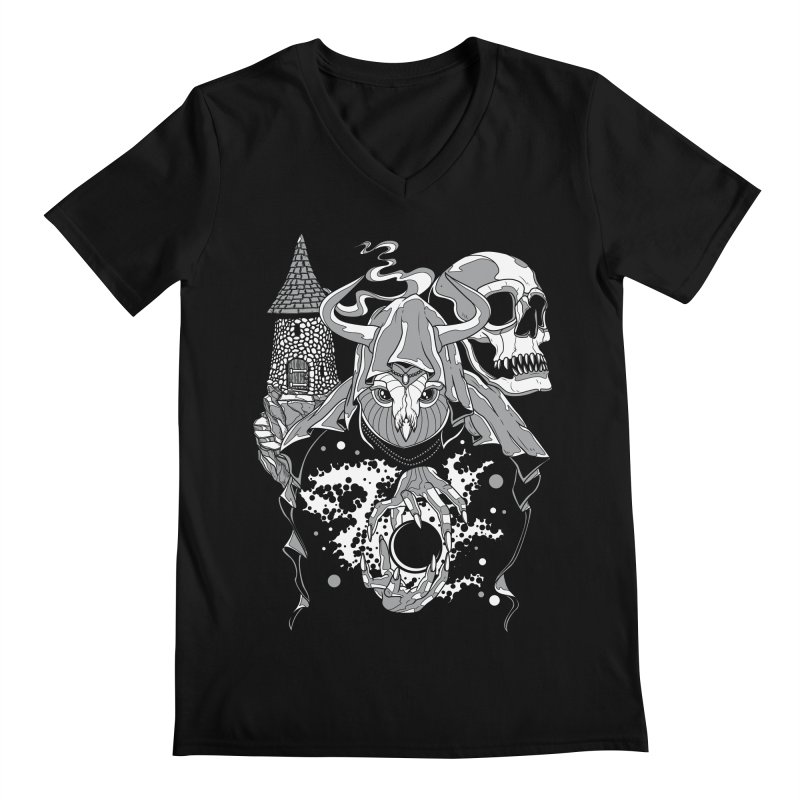Curse of the Owl Wizard Men's V-Neck by Phil Ryan's Artist Shop