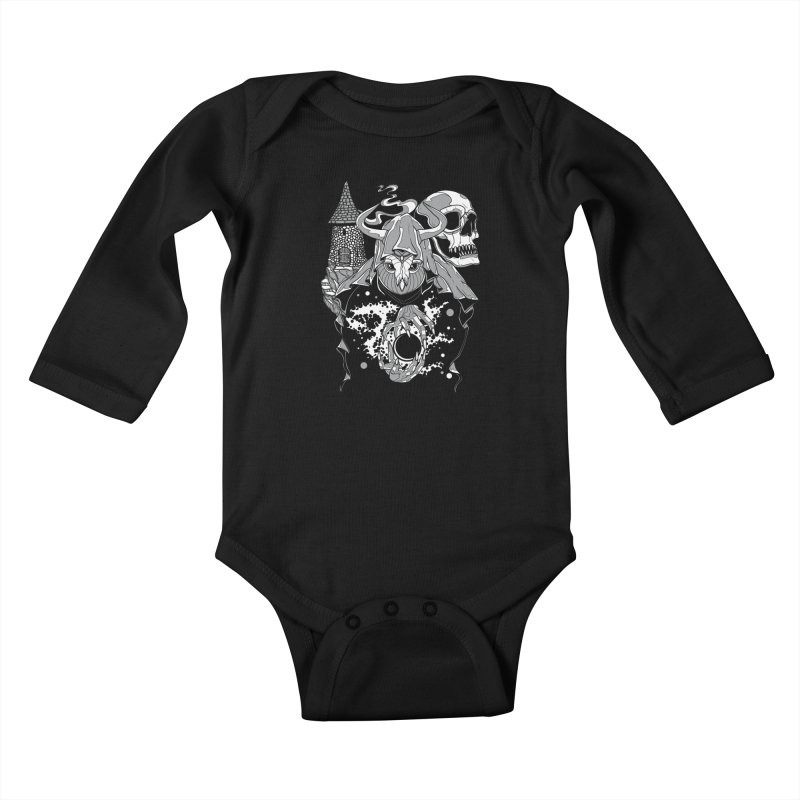 Curse of the Owl Wizard Kids Baby Longsleeve Bodysuit by Phil Ryan's Artist Shop