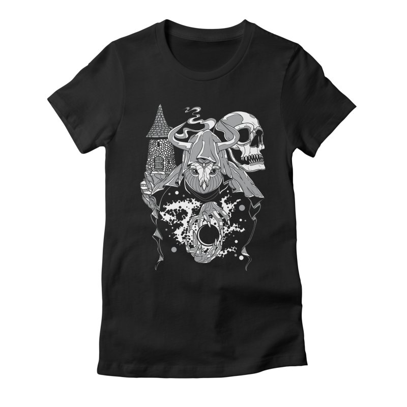 Curse of the Owl Wizard Women's Fitted T-Shirt by Phil Ryan's Artist Shop