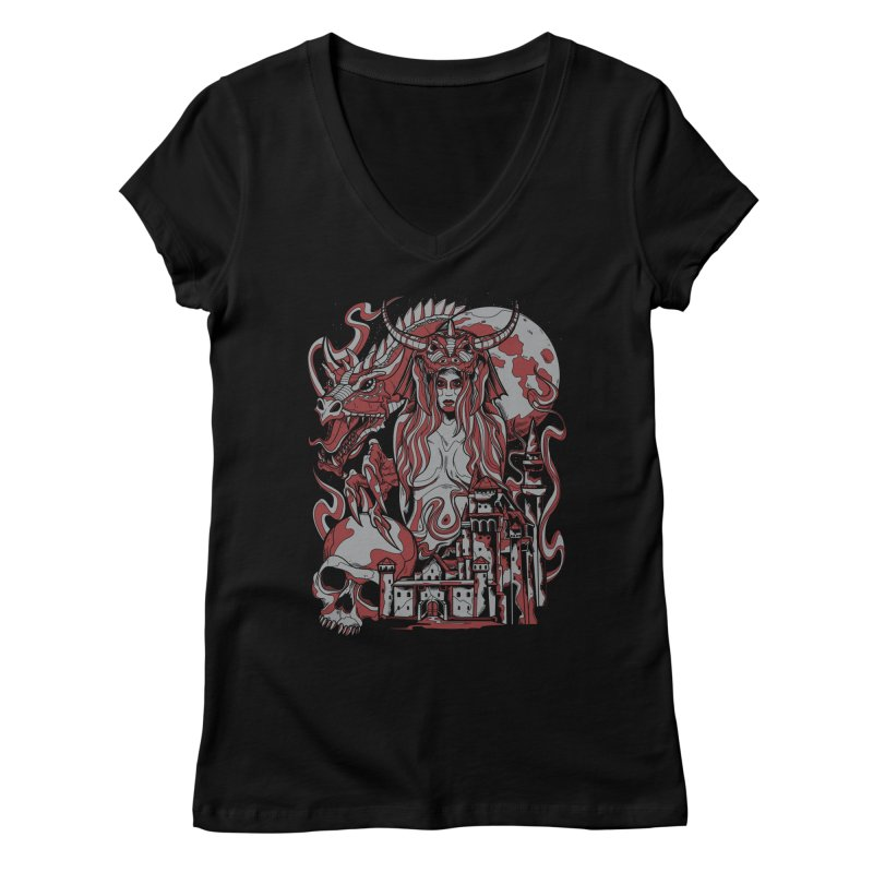 Dragon Priest Women's V-Neck by Phil Ryan's Artist Shop