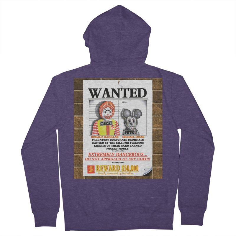 WANTED Men's French Terry Zip-Up Hoody by philscarr's Artist Shop