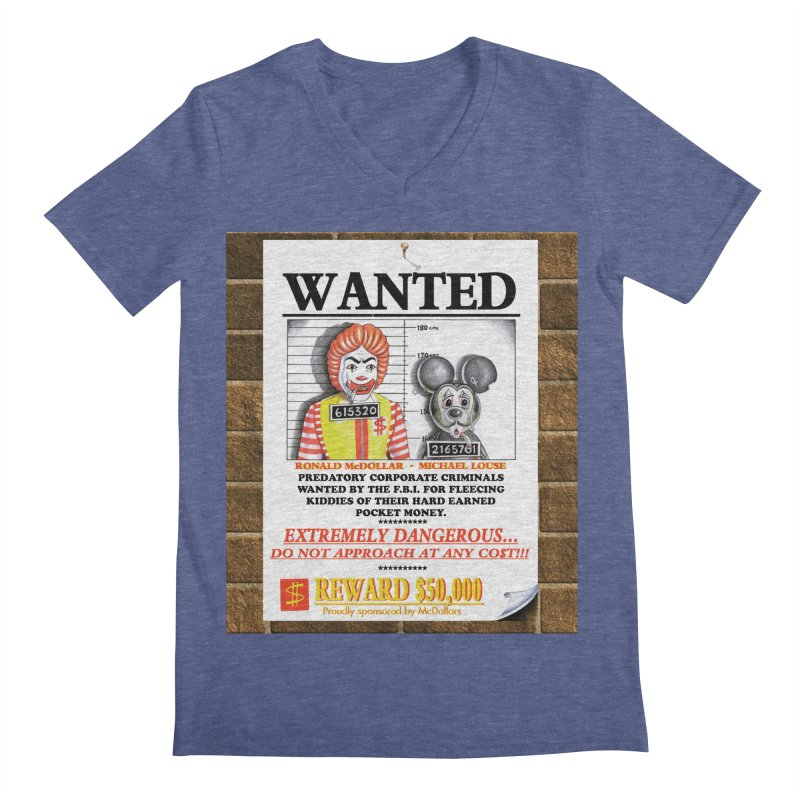 WANTED Men's V-Neck by philscarr's Artist Shop