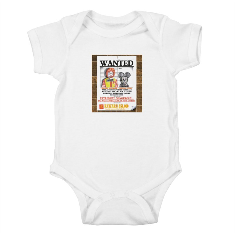 WANTED Kids Baby Bodysuit by philscarr's Artist Shop