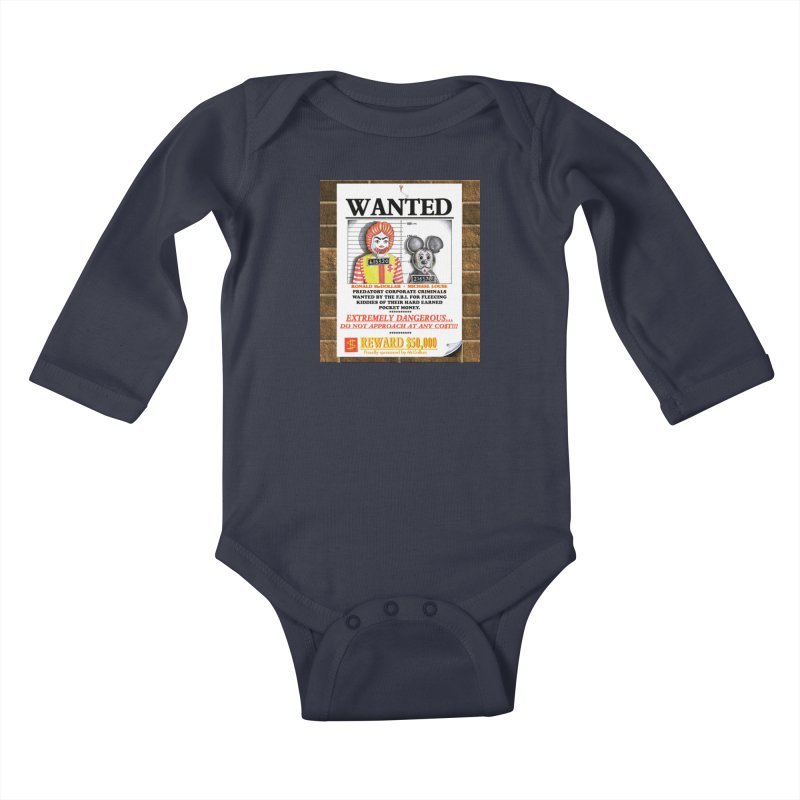 WANTED Kids Baby Longsleeve Bodysuit by philscarr's Artist Shop