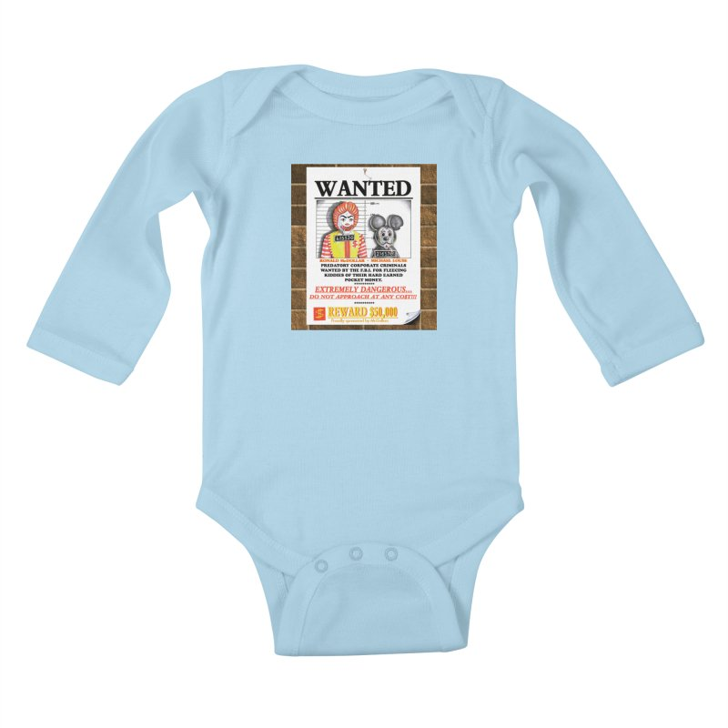WANTED Kids Baby Longsleeve Bodysuit by philscarr's Artist Shop