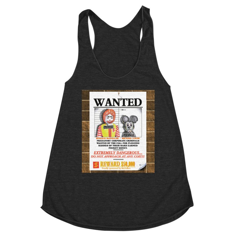 WANTED Women's Racerback Triblend Tank by philscarr's Artist Shop