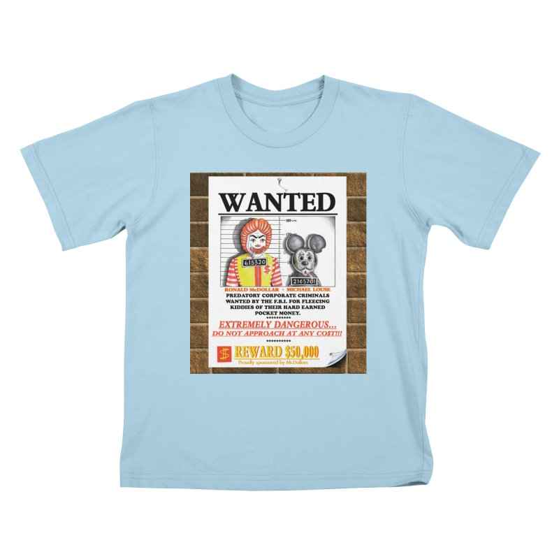 WANTED Kids T-Shirt by philscarr's Artist Shop