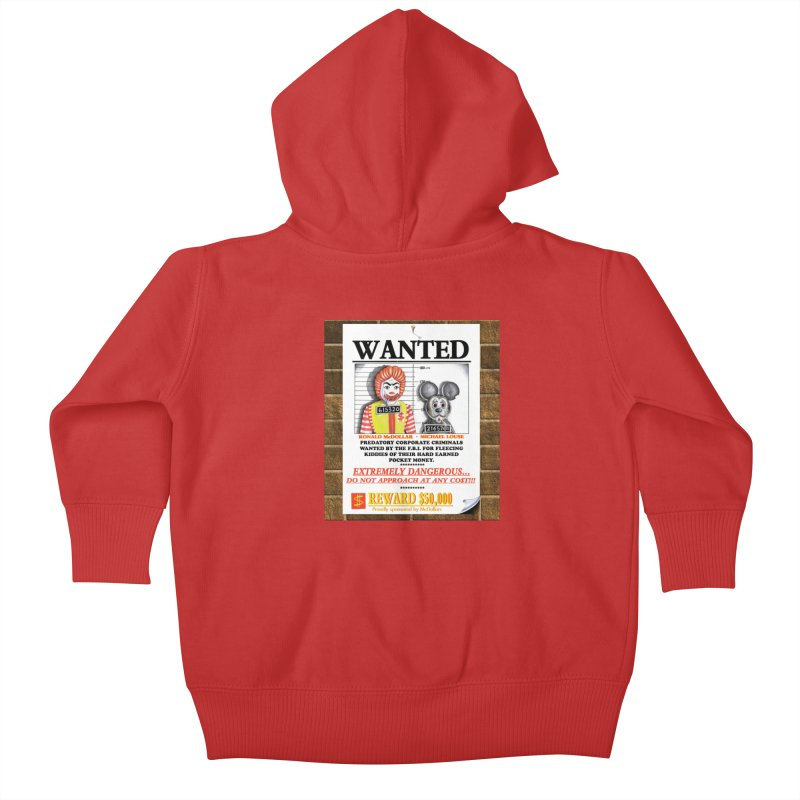 WANTED Kids Baby Zip-Up Hoody by philscarr's Artist Shop